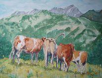 Kuh, Berge, Panorama, Aquarell