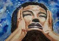 Gesicht, Schmerz, Portrait, Aquarellmalerei