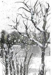 Baum, See, Winter, Aquarell