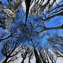 Blau, Vogel, Wald, Himmel