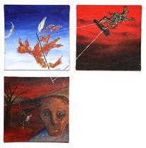 Traum, Surreal, Acrylmalerei, Vogel