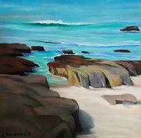 Welle, See, Sand, Pastellmalerei