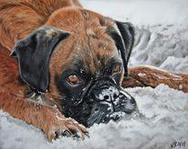 Hund, Schnee, Pastellmalerei, Sand