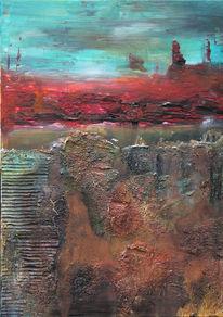 Landschaft, Abstrakt, Rot, Acrylmalerei