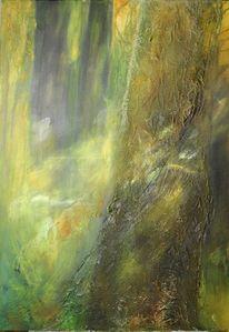 Frühling, Acrylmalerei, Wald, Malerei