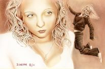 Airbrush, Bleistiftzeichnung, Lasurtechnik, Portrait