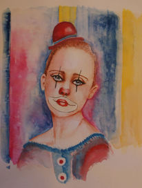 Clown, Mädchen, Trauriger clown, Aquarellmalerei