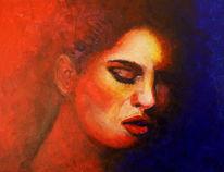 Gesicht, Verführung, Acrylmalerei, Malerei