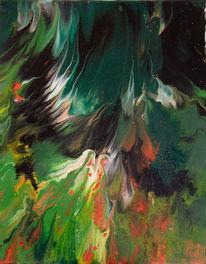 Grün weiß schwarz, Farbexplosion, Abstrakt, Malerei