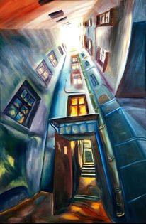 Malerei, Ölmalerei, Blau, Hof