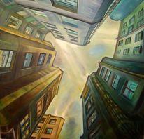 Malerei, Hof, Ölmalerei, Licht