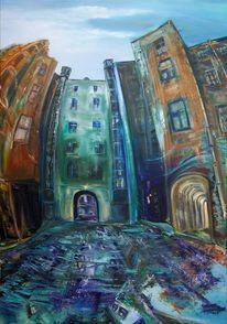 Surreal, Ölmalerei, Gasse, Blau