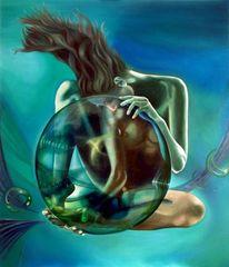 Surreal, Akt, Schöpfung, Blau