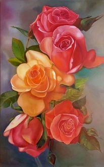 Rose, Malerei, Ölmalerei, Tropfen