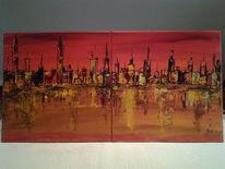 Abstrakt, Geschpachtelt, Acrylmalerei, Meer
