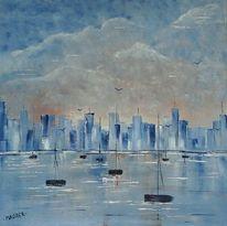 Haffen, Stadt, Meer, Malerei
