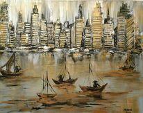 Stadt, Wasser, Malerei, Hafenstadt