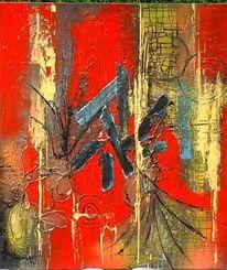 Abstrakt, Farben, Rot schwarz, Malerei