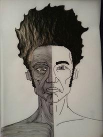 Tusche, Gesicht, Zeichnung, Kopf