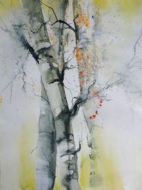 Birkenstämme, Worpswede, Baum, Aquarell