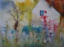 Haus, Blumen, Hütte, Bunt