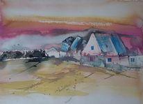 Lila, Blau, Dorf, Landschaft