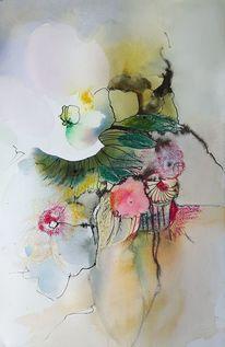 Fantasie, Blumen, Malerei, Weiße blüte