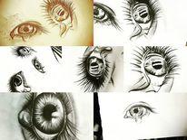Zeichnung, Augen, Tränen, Malerei