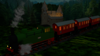 Zug, Rendering, Burg, Eisenbahn