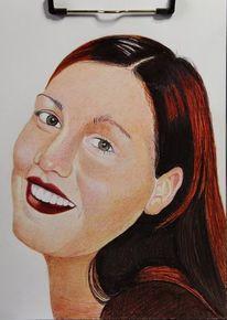 Zeichnung, Kuli, Bunt, Portrait