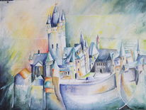 Zell, Burg, Aquarellmalerei, Historische gebäude