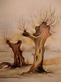 Baum, Landschaft, Weiden im winter, Natur