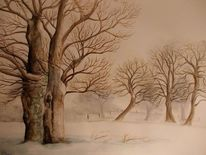 Winterlandschaft, Hain, Winter, Baum