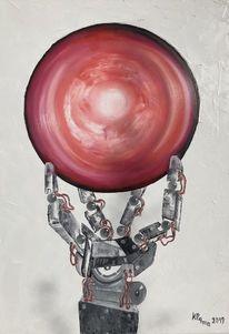 Kugel, Mechanische hand, Rot schwarz, Roboter