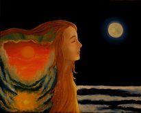 Mystik, Mädchen, Sonnenuntergang, Sonne