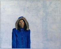 Frau, Augenblick, Eindrucksvoll, Blauer anorak