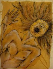Frau, Zeichnung, Schrei, Schmerz