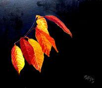 Leuchtende farben, Blätter, Aquarell, Herbst