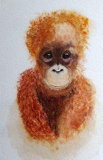 Tiere, Affe, Aquarellmalerei, Aquarell