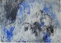 Schwarz weiß, Acrylmalerei, Abstrakt, Leinen