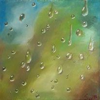 Tropfen, Glasscheibe, Bunt, Regen