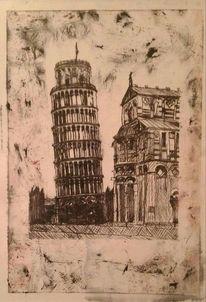 Linolschnitt, Pisa, Turm, Druck