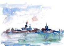 Stralsund, Stadt am meer, Silhouette, Stadtlandschaft