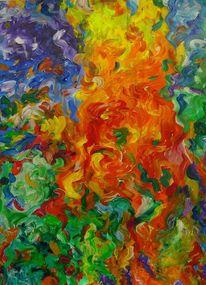 Grün, Malerei, Abstrakt, Sommer