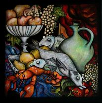 Obst, Fisch, Stillleben, Bunt