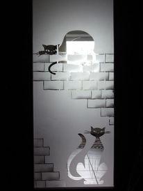 Sandstrahlung, Tür, Glas, Kunsthandwerk
