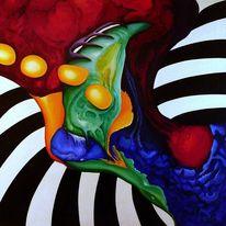 Abstrakt, Rot schwarz, Acrylmalerei, Blau