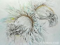 Aquarellmalerei, Winter, Weiß, Pflanzen