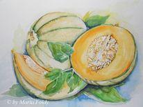 Sommer, Orange, Malerei, Netzmelonen