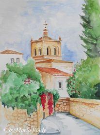 Kirche, Baum, Aquarellmalerei, Sonne